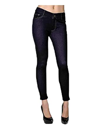 a19319914b6e1 Fashion MIC Womens Cotton Blend Color Jeggings with Orange Stitching (SM,  Black)