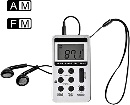 Pocket FM//AM Radio Digital Tuning Receiver Rechargeable Battery+Earphone US