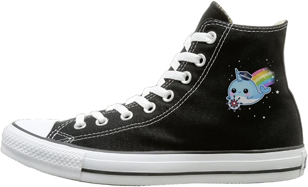 Shenigon Cute Kawaii Narwhal Canvas Shoes High Top Casual Black Sneakers Unisex Style