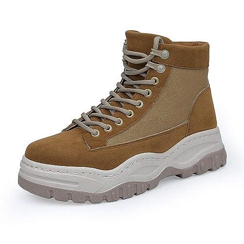 Botas de Invierno para Hombre Casuales, de tacón Grueso, Altos, con Cordones, Zapatos de Ocio: Amazon.es: Zapatos y complementos
