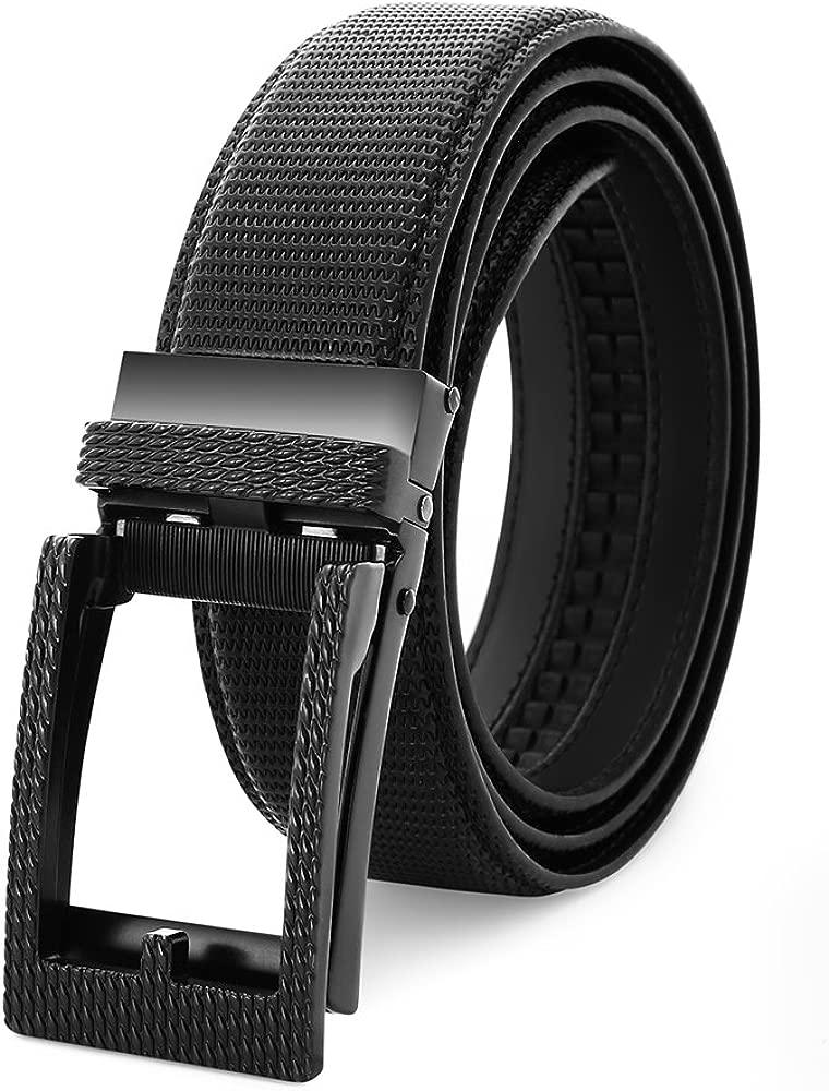 BESTKEE Cinturón de Cuero para Hombre, Cinturones de Vestir Ajustables sin Agujeros para Hombre con Hebilla Automática (Cinturón 120cm (Cintura 95-105 ...