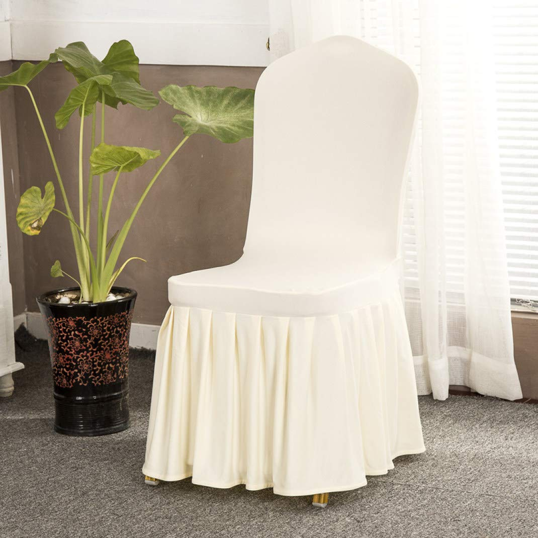 KKONION Ruffled Long Skirt Dining Chair Slipcover Super Soft Spandex Seat Shield Chair Cover for Wedding/Party/Banquet