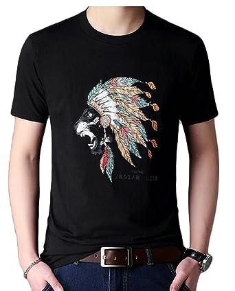 dcae0a95a467 Generic Men s Short Sleeve Club Collar Summer Native American Print Cotton  Top T Shirt Black XXS