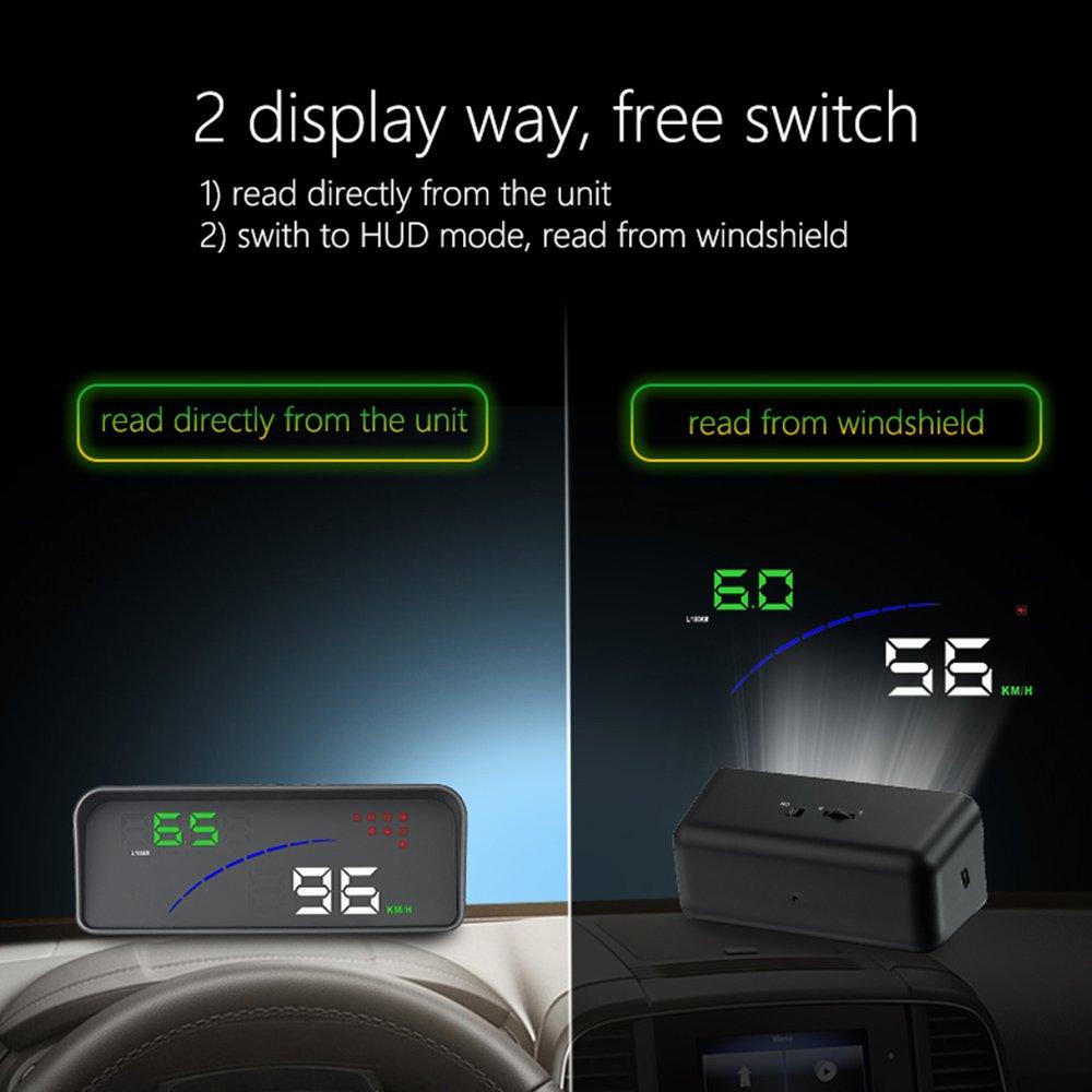 KKmoon Car HUD Head Up Display RPM Motore velocit/à KM//h /& mph Avviso velocit/à di Guida OBDII Interfaccia Colorato LED Sistema di proiezione del Parabrezza Strumento di diagnostica per Auto P10