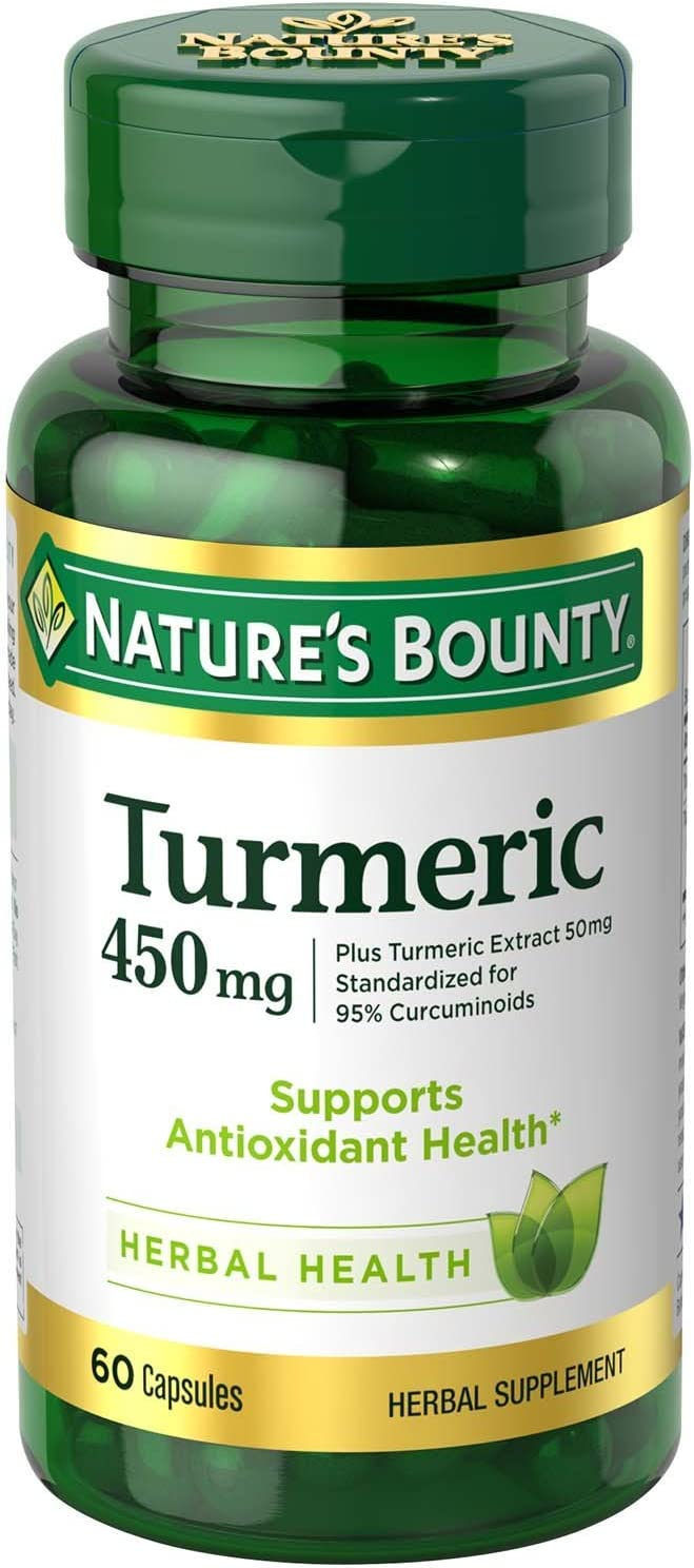 Nature's Bounty Turmeric Pills and Herbal Health Supplement, Supports Joint Pain Relief and Antioxidant Health, 450mg, 60 Capsules