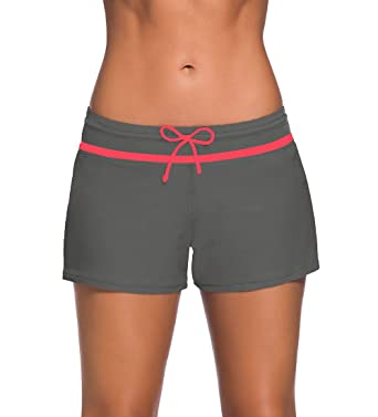 8c941d3f9076c YoungSoul Shorts de bain femme - Maillot de bain boxer cordon de serrage - Tankini  shorty