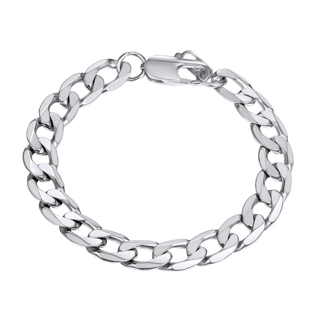 Cuban Chain Bracelet Men 316L Stainless Steel 8MM Wide Hand Chain Bracelet Men Jewelry Gift for Him, PSH3008 PROSTEEL Jewelry CA-PSH3008J-19