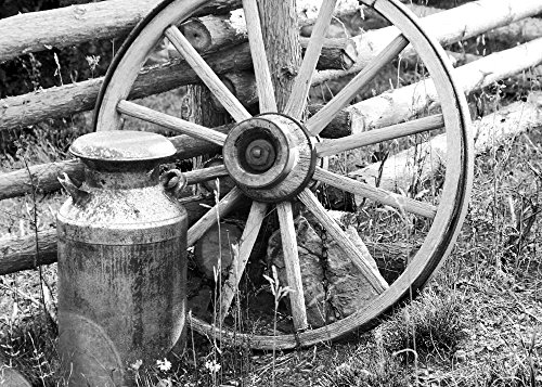 - Wagon Wheel and Milk Can print, old country wall art decor, photo paper or canvas, 5x7 to 16x24