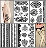 Temporary Tattoo Stickers, Glamorstar Fashion Black Lace 4 Different Sheets Waterproof Body Art Tattoo Sticker for Women, Teens & Girls (B)