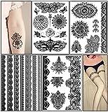 Temporary Tattoo Stickers, Glamorstar Fashion Black Lace 4 Different Sheets Waterproof Body Art Tattoo Sticker for Women, Teens & Girls (B)