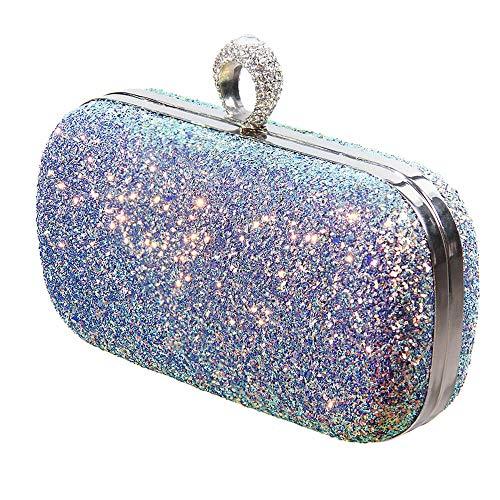 Bling Ring Bag - Glitter Evening Handbag, Sparkling Party Clutch, Bling Wedding Purse with Ring Crystal Rhinestone, Detachable Thin Chain Strap (A4 - Rainbow Evening Bag)