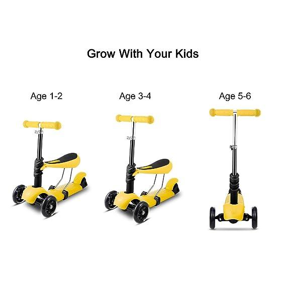 Coorun 3 en 1 Niños Roller - Patinete Kick Scooter Mini ...