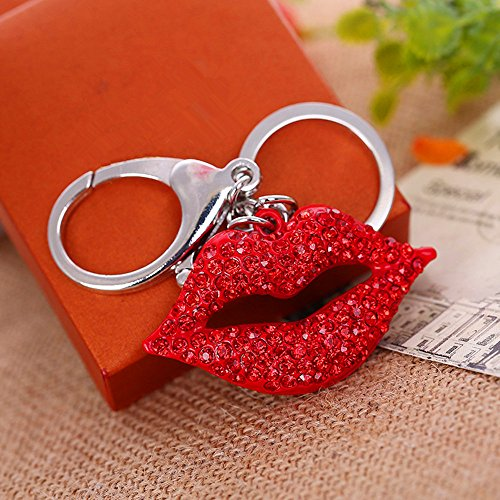 (JewelBeauty Red Rhinestone Big Kiss Lips Keychain Bling Key Chain Women Purse Charm Bling Crystal Key Ring Bag Charm Jewelry Red Diamond Keyring (Silver Keyring))