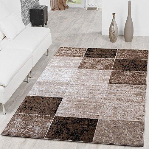 Teppich Günstig Karo Design Modern Wohnzimmerteppich Braun Beige Creme Top Preis, Größe:190x280 cm