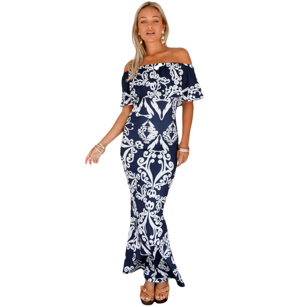 6 Dress for Women,Summer Women's Tropical Print Short Sleeve Long Dress Elegant Bohemia Party Dress Beach Dress Maxi Dresses