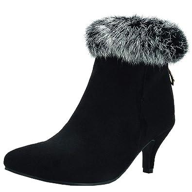 9afb47beb5 Vitalo Womens Kitten Heel Fur Ankle Boots Zip Pointed Toe Booties Size  2UK,Black