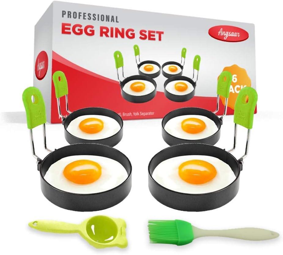 ANGSAAR's Stainless Steel Egg Cooker Ring Molds for Frying Eggs & Omelet Maker | Non Stick with Oil Brush and Egg Yolk Separator | Pancakes and English McMuffins Shaper (Set of 6)