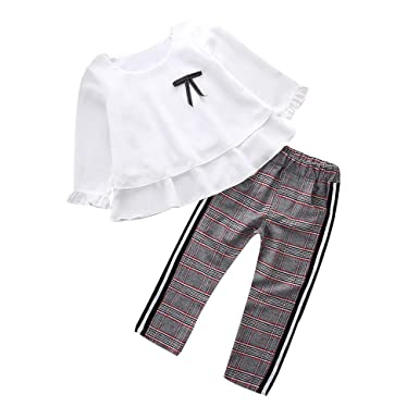 bc4524eea2a6 Felicy Toddler Baby Girls Long Sleeves Ruffle T Shirt Tops+Checked ...