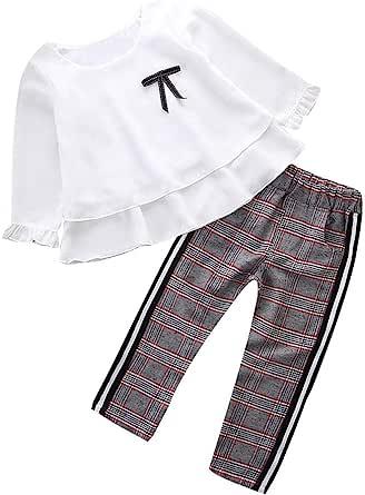 K-youth Conjunto de Ropa para Niñas Ropa Bebe Niño Camiseta de Manga Larga Blusas Niña Top y Pantalones 1-6 Años
