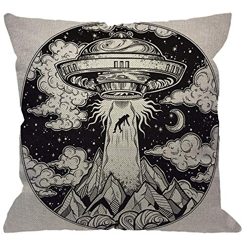 HGOD DESIGNS Alien Spaceship Throw Pillow Cover,UFO Abduction of A Human with Flying Saucer Icon Moon Mountain Black White Decorative Pillow Cases Square Cushion Covers for Home Sofa Couch 18×18 inch