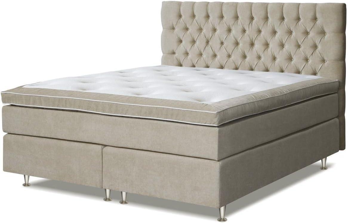 Cama con somier cama 140 x 200 cm beige: Amazon.es ...