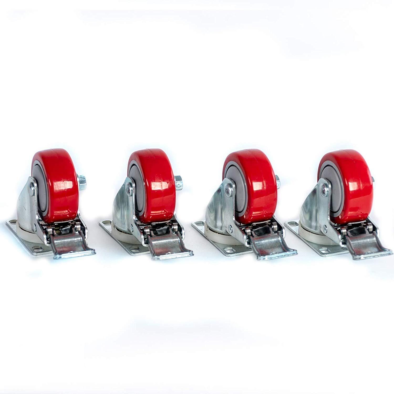 3 X 1 1 4 Swivel Casters Red Polyurethane Wheel Total Lock Brake 300lb Each 4 Amazon Com Industrial Scientific