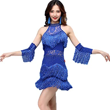 GOWE Sexy Vestido Lentejuelas Flecos Mujer Latino Dance Party Ropa ...
