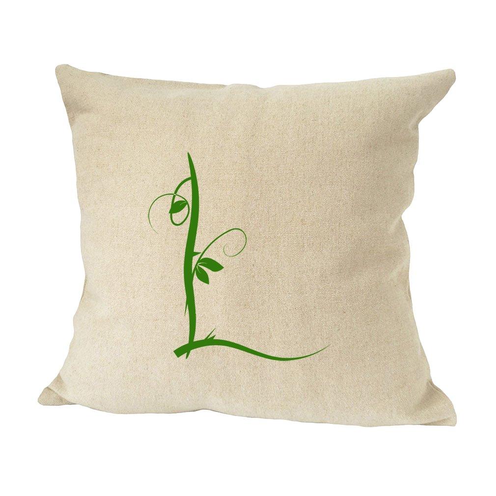 ''L '' Wood Branch Green Monogram Letter L Bed Home Decor Faux Linen Pillow Cover