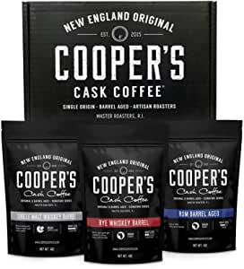 Coopers Cask Coffee Whisky y Ron del barril de café frijol Box Set, 3 bolsas, café Sampler conjunto, Rwanda Ron tostado café molidos