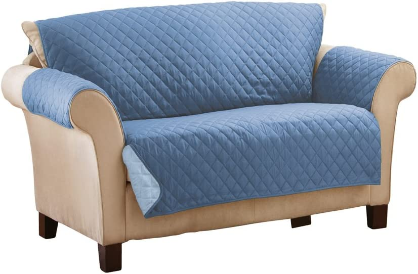 Collections Etc Reversible Quilted Furniture Protector Cover, Dark Blue/Light, Loveseat
