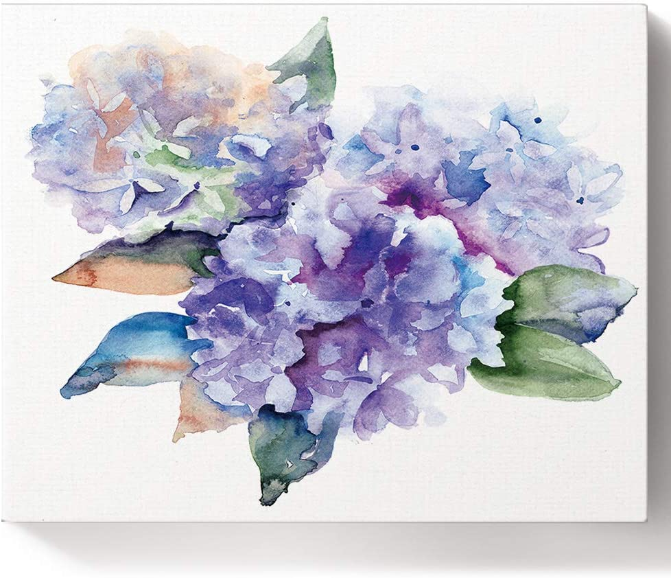 USOPHIA DIY Oil Painting Paint by Number Kit,Watercolor Delicate Hydrangea Flowers Blooming Botanical Pattern Oil Painting Arts Craft for Home Wall Decoration 16x20 Inch