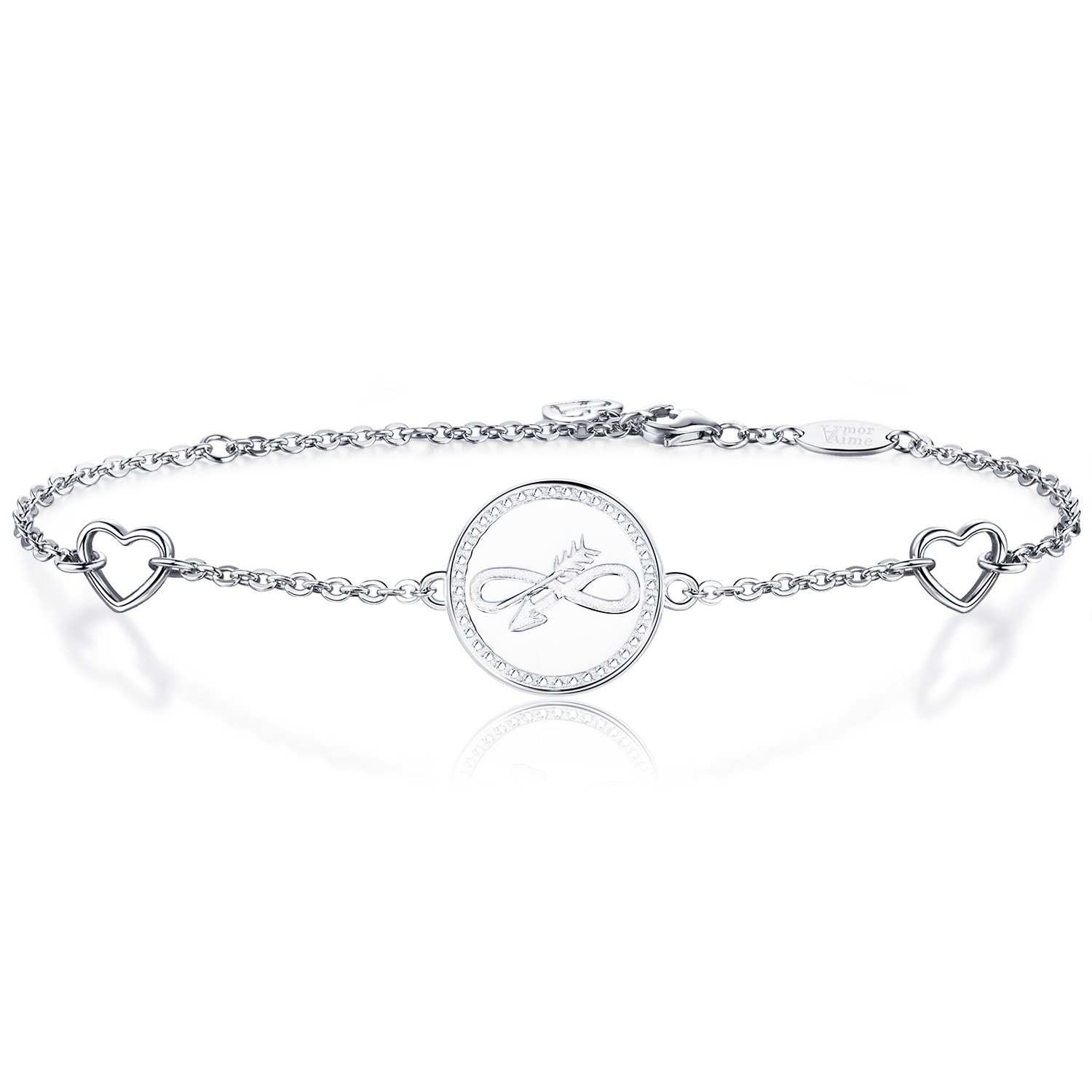 AmorAime 925 Sterling Silver Arrow Symbol Heart Charm Disc Bracelet White Gold Plated Adjustable Jewelry Gifts for Women Girls