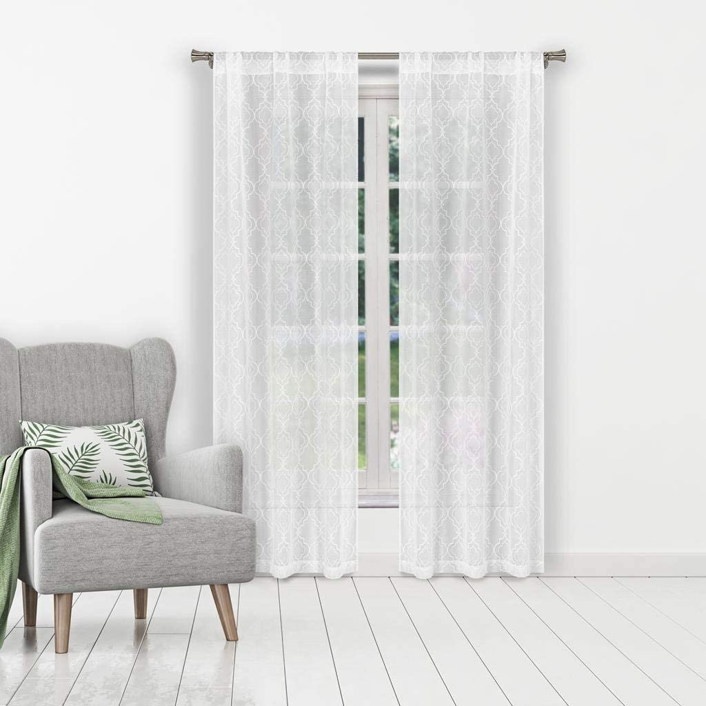 Home Maison Erica Window Curtain, 38 X 84, White-Silver