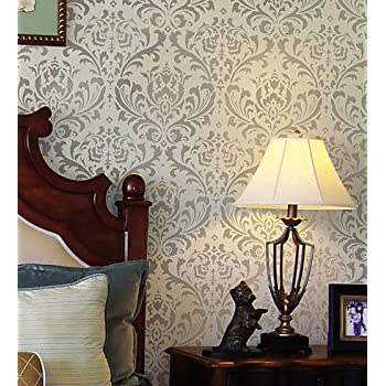 Amazoncom Damask Stencil Anna Reusable Large Wall Stencils - Giant wall stencil