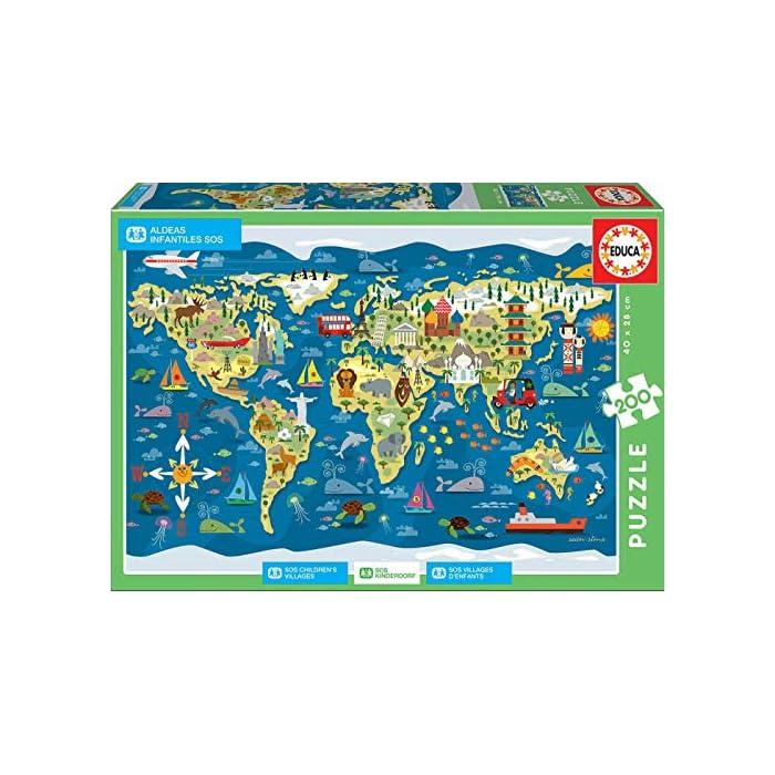 61dKAI9y5QL Puzzles de 200 piezas; con este puzzle educa borras colabora con Aldeas Infantiles SOS Puzzles inspirados en Mapamundi - Sean Sims Aldeas Infantiles SOS Compuestos por grandes piezas, perfectamente acabadas para que sea sencilla y segura su manipulación por los niños