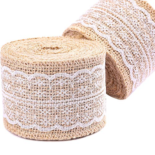 Whaline 315 Inches Burlap Ribbon Roll with White Lace Trim for DIY Handmade Rustic Wedding Decorations Crafts Lace Linen, 2 Roll