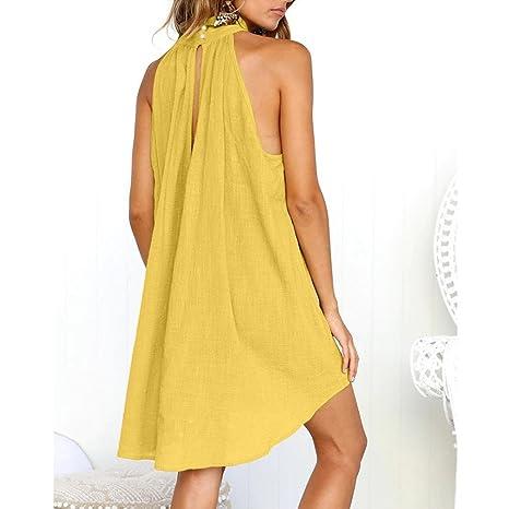 RETUROM-Vestidos Vestido de verano, fiesta sin mangas playa mujer verano: Amazon.es: Ropa y accesorios