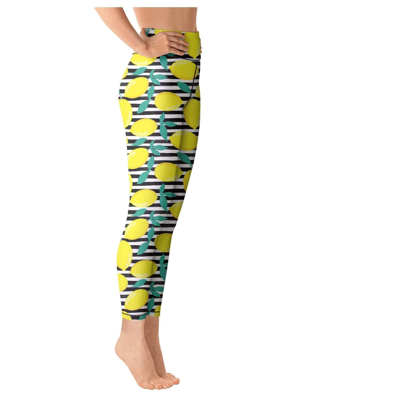 Women Yoga Pants Printed Leggins Lemons with Leaves on Black Sports Capris