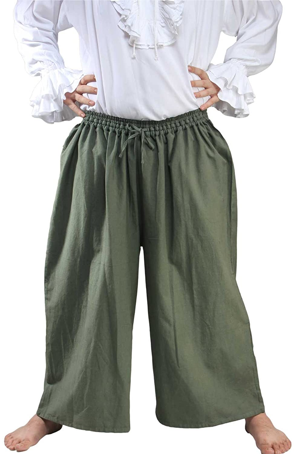 Deluxe Adult Costumes - Men's khaki wide leg draw string pirate sailor slop pants by ThePirateDressing