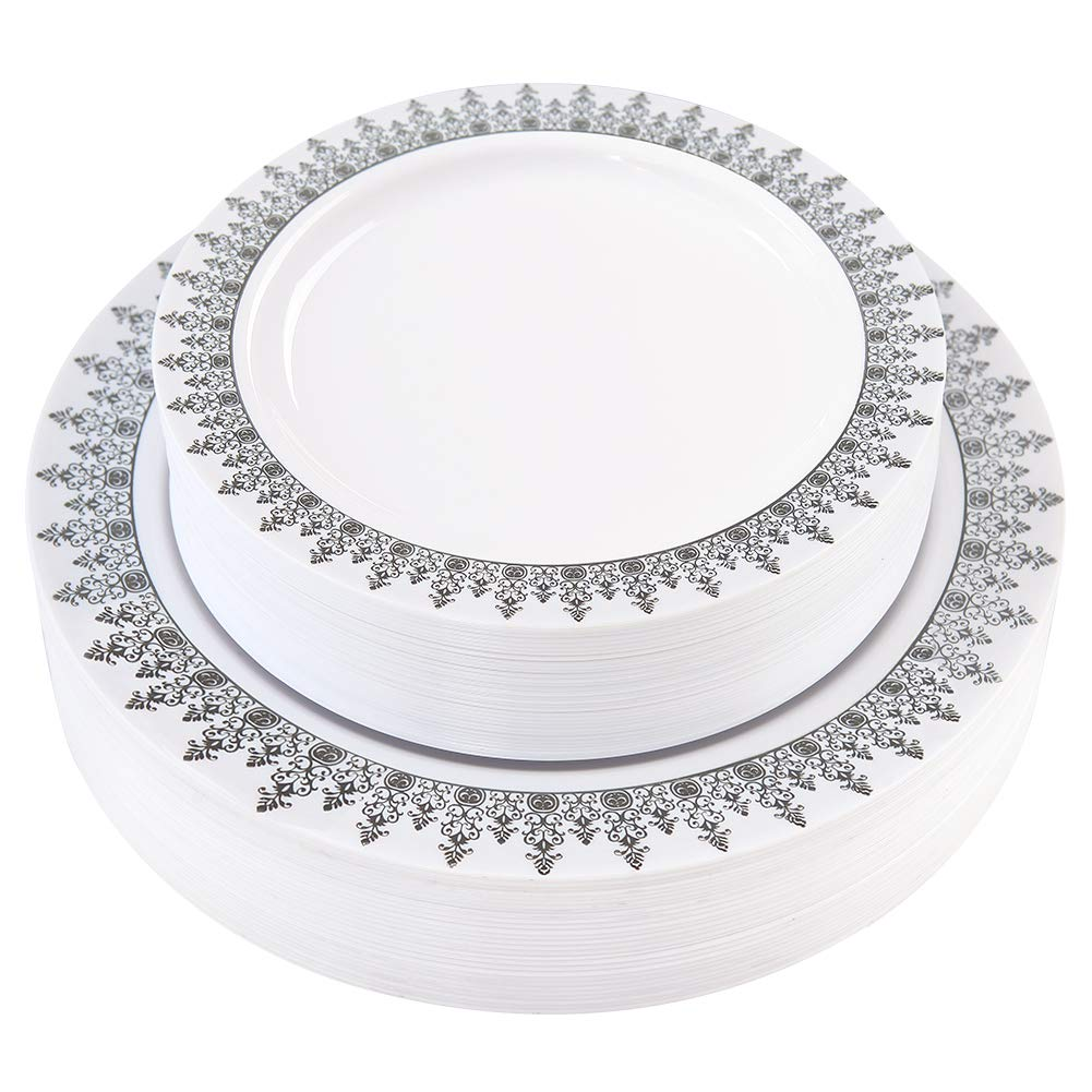 Plastic Plates Silver 60 Pieces, Disposable Plates for Party, Heavyweight Wedding Plates Includes: 30 Dinner Plates 10.25 Inch and 30 Salad/Dessert Plates 7.5 Inch,White with Forest Rim (60, Silver)