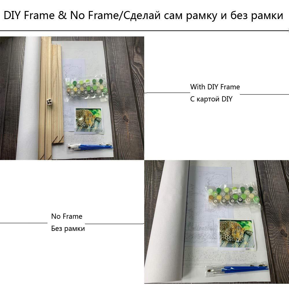 Weiße Blaume Moderne Wandkunst Leinwand DIY Malen nach Zahlen Zahlen Zahlen Acryl Bild Home Wand Dekor einzigartiges Geschenk für Raumdekor Mit Rahmen 40x50cm B07P143514 | Große Ausverkauf  988baf