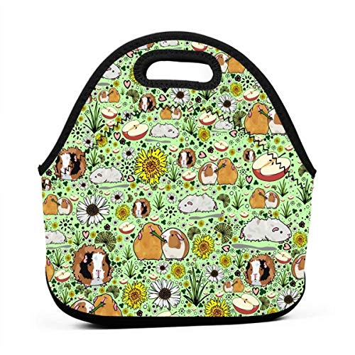 ONUPMIN Ideal Gifts - Insulated Lunch Bag Guinea Pigs and Flowers Bento Lunch Bag Thermal Cooler Lunch Pouch with Portable Carrying Bag for Men &Women &Kids