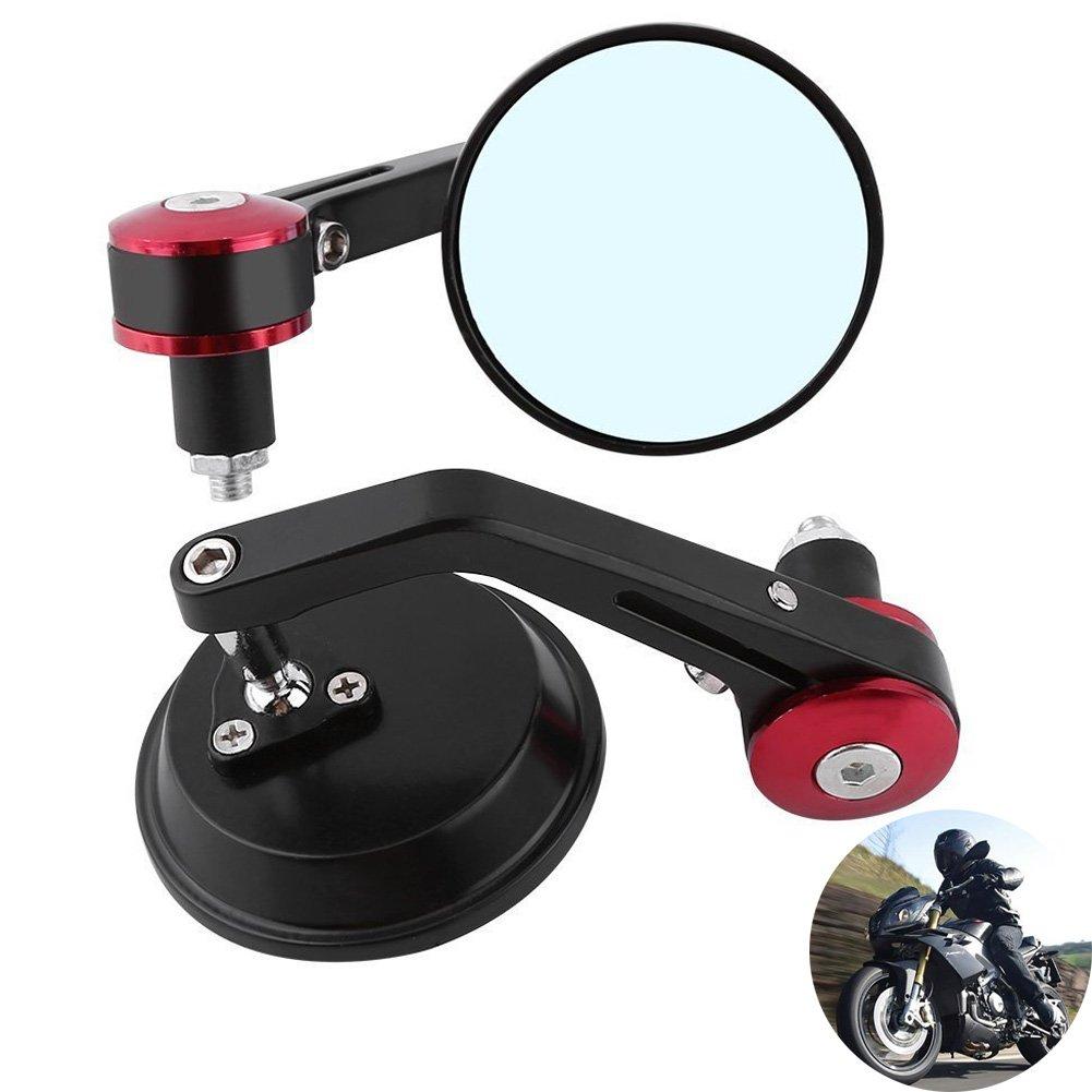 Tuincyn 7//20,3 cm 22 millimetri moto maniglia End specchietti retrovisori universali alluminio rotonda retrovisore adattatore nero confezione da 2