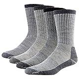 Performance Hiking Socks, RTZAT Men's Women's Odor Free Super Warm Sweat Wicking Mid Calf Outdoor Boots Socks Medium 2 Pairs, 1 Black, 1 Gray