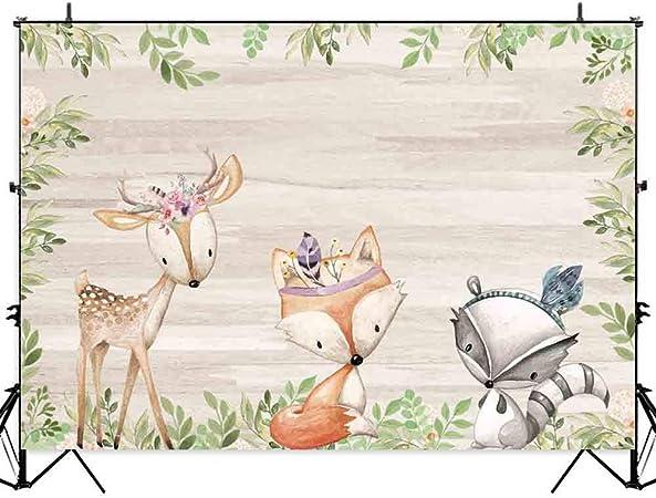Allenjoy Boho Woodland Tel/ón de Fondo para ni/ñas Baby Shower Ni/ños Fiesta de cumplea/ños Fotograf/ía Pastel Decoraci/ón de Mesa Banner Animales Salvajes Flores Rosadas Photo Booth Props 210x150cm