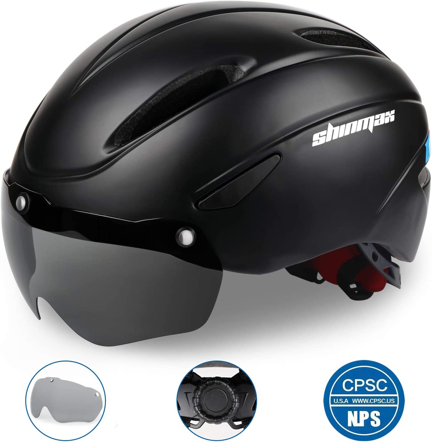Shinmax Bike Helmet, Bicycle Helmet Men Women CPSC Safety Standard with Detachable Magnetic Goggles Adjustable for Adult Road Biking Mountain Cycling Helmet BC-001 Bonus with Carrying Bag
