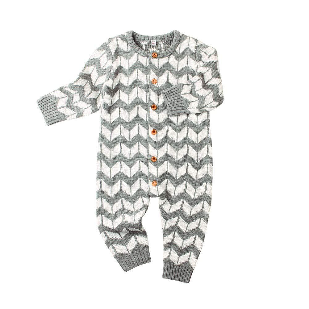 BOBORA Vêtements Bébé Hiver, Combinaisons Tricotées à Manches Longues Bébé Garçons Filles 0-24Mois