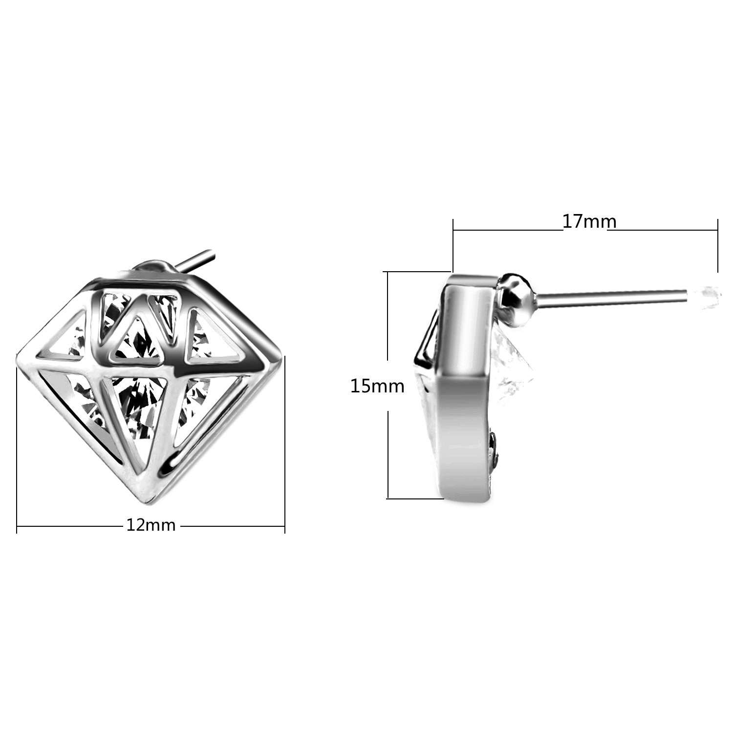 UHIBROS Diamond Shaped Earrings, Unisex Hypoallergenic Stainless Steel Earrings,Cubic Zirconia Stud Earrings Silver,1Pair