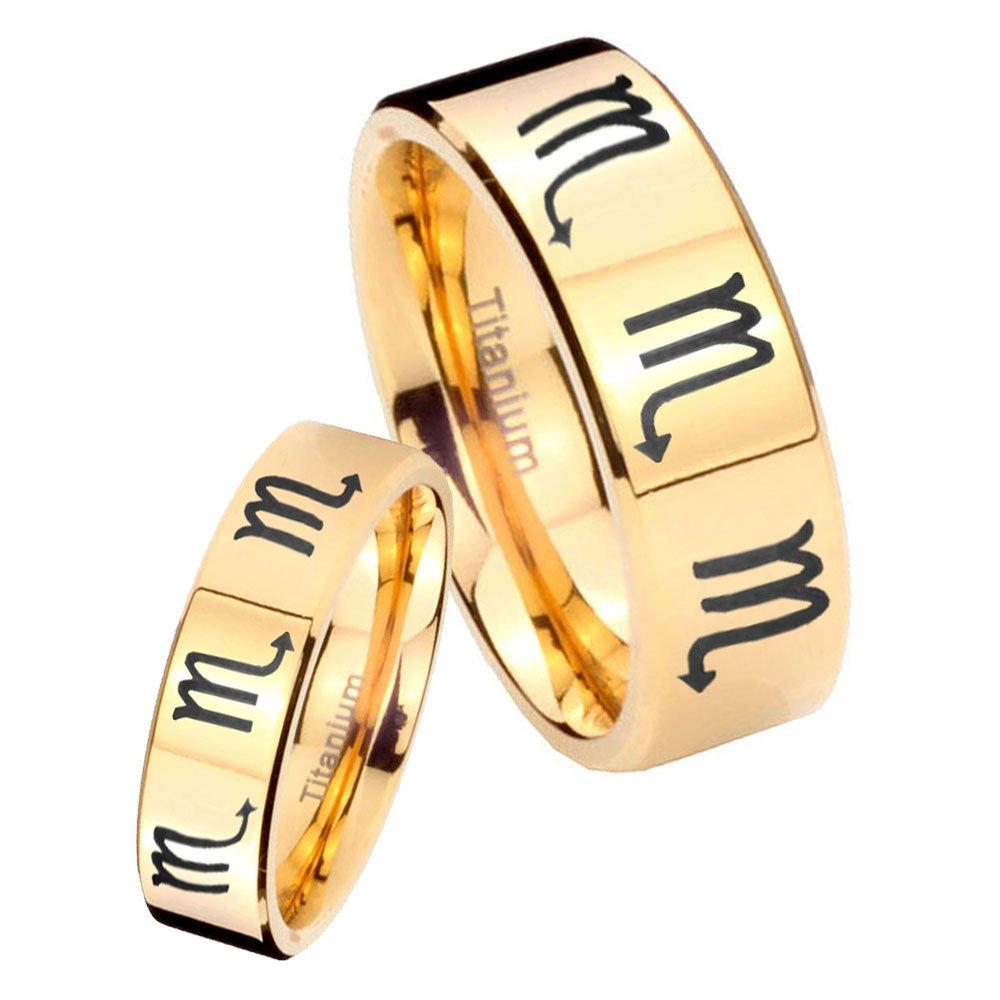women and men Titanium 8 Scorpio Zodiac Gold IP Pipe Cut Wedding Ring Set Size 6, 8