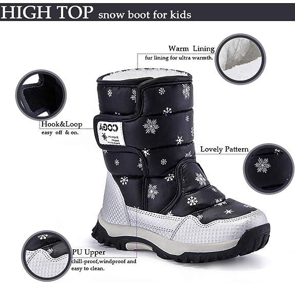 DoGeek Ragazza Stivali da Neve Inverno Scarpe da Neve per Bambini e Ragazzi  Ragazza Stivaletti Pelliccia Boots Collo Alto Impermeabile Bambini Stivali  da ... 79ccc900946